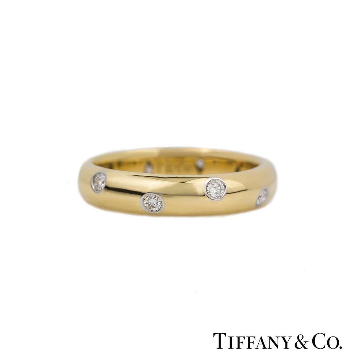 Tiffany & Co. Yellow Gold Diamond Etoile Wedding Ring 0.22ct G/VS